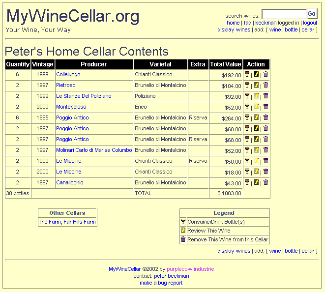 Screenshot of Main Cellar View  sc 1 th 213 & MyWineCellar.org: Welcome!